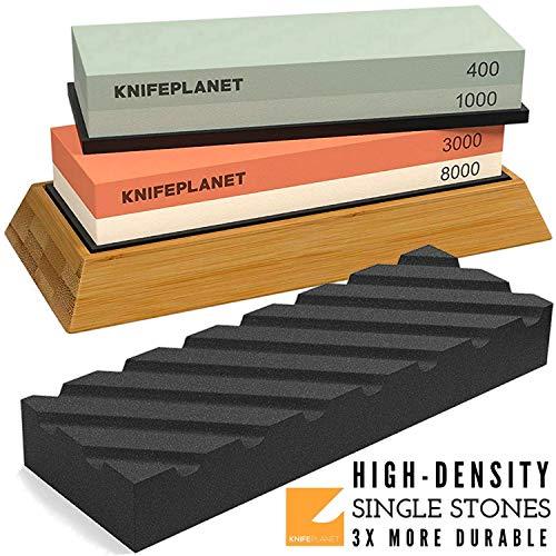 Knife Sharpening Stone Set - 400/1000 and 3000/8000-Grit Professional, Safe Knife Sharpener Set - Whetstone Set Includes Flattening Stone, Bamboo Base, and 2 Nonslip Rubber Bases by KnifePlanet (Sharpening Stone Japanese)