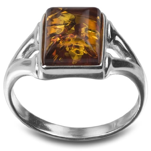 - Sterling Silver Amber Rectangular Shaped Ring