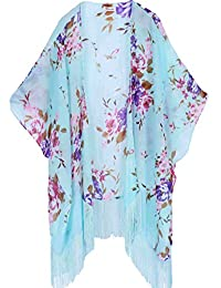 Women's Floral Aztec Leopard Light Chiffon Beachwear Cover up Kimono Cardigan Outfit