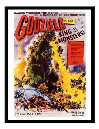 Iposters Godzilla Vintage Movie Print Black Framed - 41 X 31
