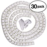 InstallerParts (30 Pack) 30mm Diameter 1.5m Long Spiral Cable Wrap Desktop Computer Cable Management, White