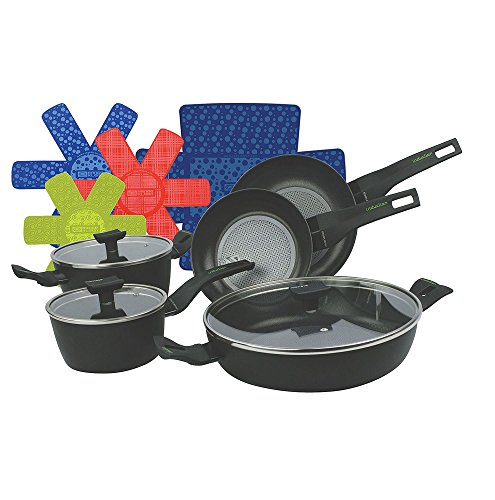 8-Piece Nova Cookware Pan Set with Protection Base Non-Stick Coating with free Cookware Protectors by MONETA