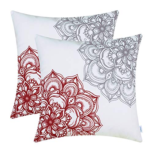 CaliTime Pack of 2 Cozy Fleece Throw Pillow Cases Covers for Couch Bed Sofa Vintage Dahlia Floral Both Sides 18 X 18 Inches Dark Red Grey (Pillows Couch Red For Sale)