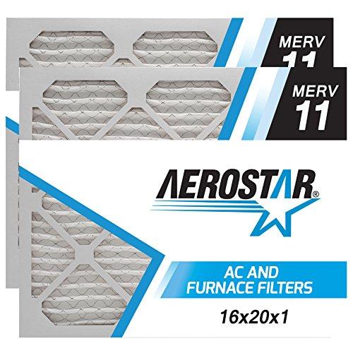 16x20x1 AC and Furnace Air Filter by Aerostar - MERV 11, Box of 2