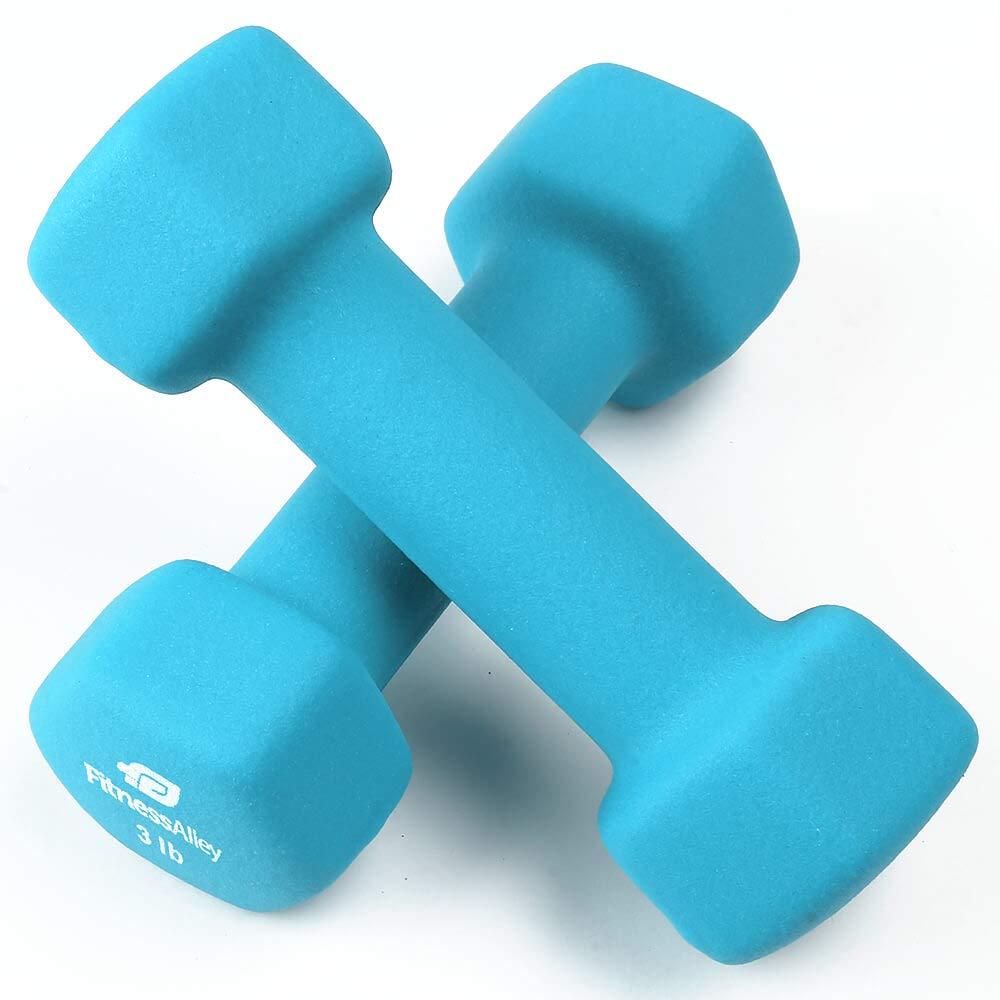 Fitness Alley 3lb Neoprene Dumbbell Set Coated Non Slip Grip - Hex Dumbbells Weight Set - Hand Weights Set - Neoprene Weight Pairs - Hex Hand Weights - Set Two Neoprene Dumbbells, Light Blue
