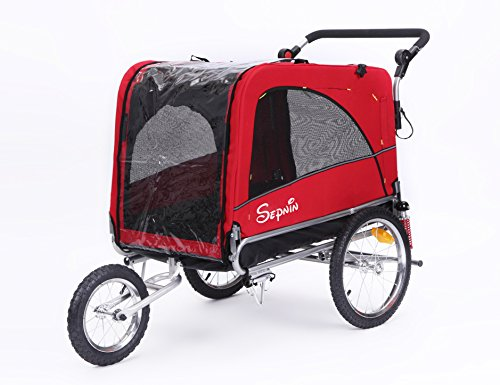 Sepnine Best sale 3 in 1 Luxury Large Sized Bike Trailer Bicycle Pet Trailer/Jogger/Dog Cage with Suspension 10308 (Red/Black)