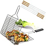 iGoods [ENLARGED]Stainless Steel BBQ Barbecue Grill Basket With Removable Wood Handle,-Grilling Basket Pan for for Fish, Vegetables-Griller Grid Grate Roast for Steak, Shrimp, Chops, BBQ Tool