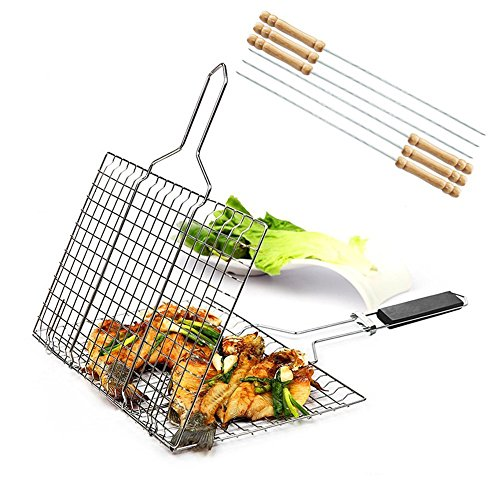 (iGoods [ENLARGED]Stainless Steel BBQ Barbecue Grill Basket With Removable Wood Handle,-Grilling Basket Pan for for Fish, Vegetables-Griller Grid Grate Roast for Steak, Shrimp, Chops, BBQ Tool)