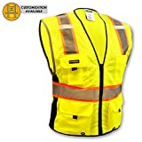 KwikSafety BIG KAHUNA Safety Vest | Class 2 ANSI OSHA PPE | High Visibility Reflective Stripes, Heavy Duty Mesh with Pockets and Zipper | Hi-Vis Construction Work Hi-Vis Surveyor | Men Yellow L/XL