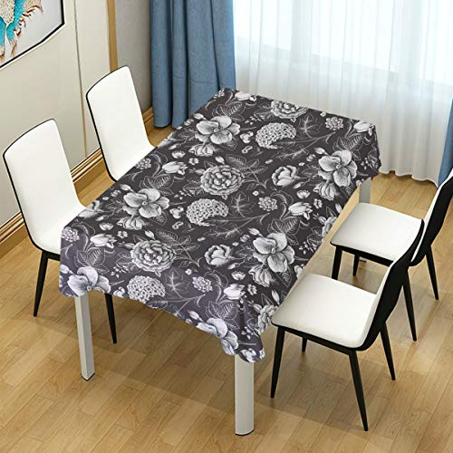 YOLIKA Grey and White Blooming Bouquet Print Waterproof Tablecloth Cover for Kitchen Dinning Tabletop Decoration