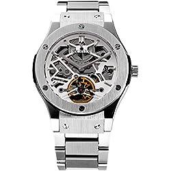 Skrox Men's Skeleton Automatic Mechanical Wrist Watch Luxury Silver