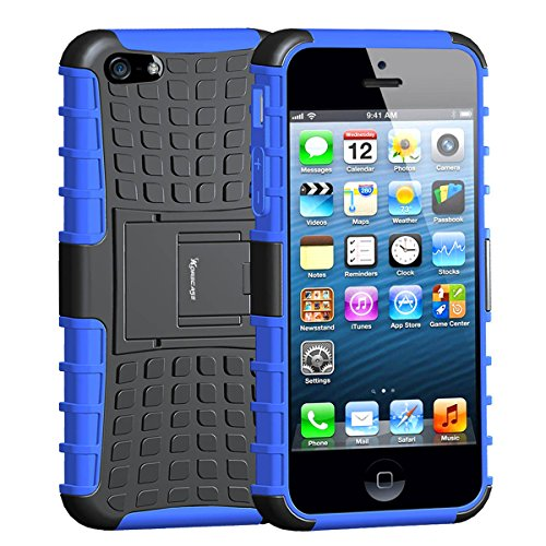 Case For iPhone 5,Armor Heavy Duty Rugged Dual Layer Hybrid Shockproof Case Protective Cover for Apple iPhone 5 5S with Built-in Kickstand (Blue)