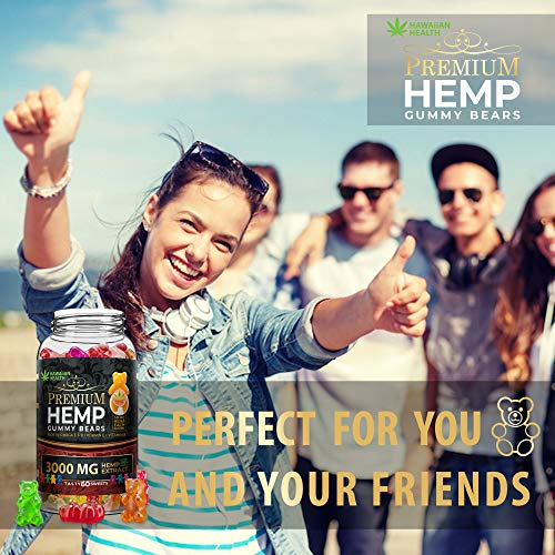 Natural Hemp Gummies 3000MG - 50MG Per Fruity Gummy Bear with Full Spectrum Hemp Extract   Natural Candy Supplements for Pain, Anxiety, Stress & Inflammation Relief   Promotes Sleep & Calm Mood by Hawaiian health (Image #6)
