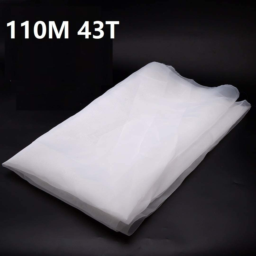 wei/ß f/ür Siebdruck Siebdruck-Netz Siebdruck 43 Z/ähne 110 Netz 0,9 m L/änge x 127 cm Breite.