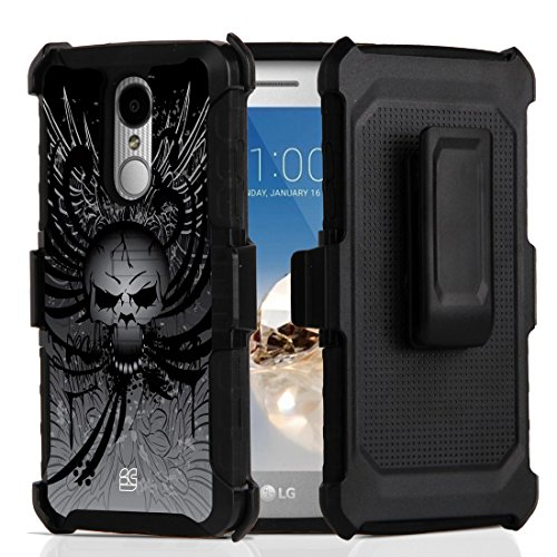 Beyond Cell Hyber Series Dual Layer Rugged Holster Case for LG Aristo 3, Tribute Empire, Rebel 4, Phoenix 4, Aristo 2 Plus - Skull Wings
