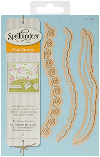 Spellbinders Card Creator A2 Waves Borders Etched Dies, Brown (Wave Border Stencil)