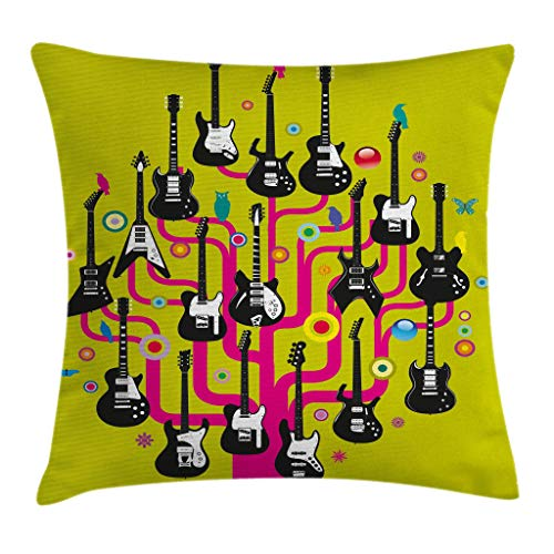 Ambesonne Music Throw Pillow Cushion Cover, Guitars for Rock Stars Above a Tree Plant Modern Geometric Design Print, Decorative Square Accent Pillow Case, 18 X18 Inches, Hot Pink Apple Green