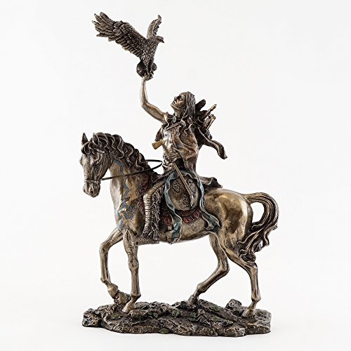 Indian Eagle (Native American Navajo Indian on Horse w/ Eagle Statue Sculpture Figurine)