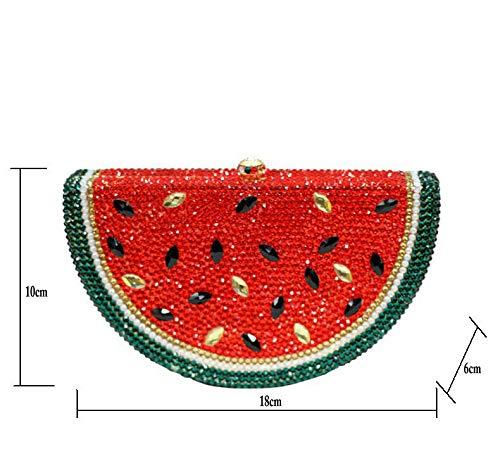 de embrayage métal main Sac à strass cristal pastèque en en sac avec creux en soirée à sac style diamants dames 1707w