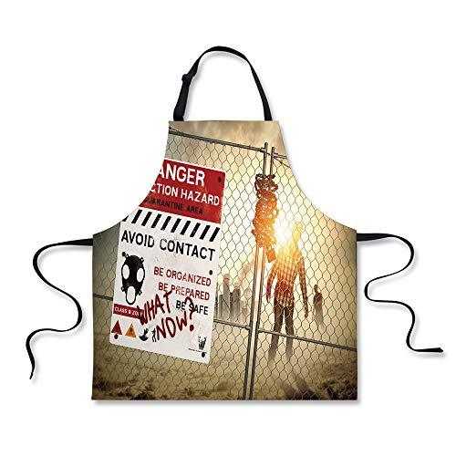 Kitchen Apron,Zombie Decor,Dead Man Walking Dark Danger Scary Scene Fiction Halloween Infection Picture,Multicolor,Fashion Apron.29.5