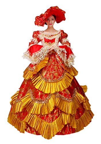 Plus Size Adult Deluxe Cinderella Costumes (Zukzi Women's Gothic Victorian Lolita Masquerade Dresses Ball Gowns, US 2, W015)