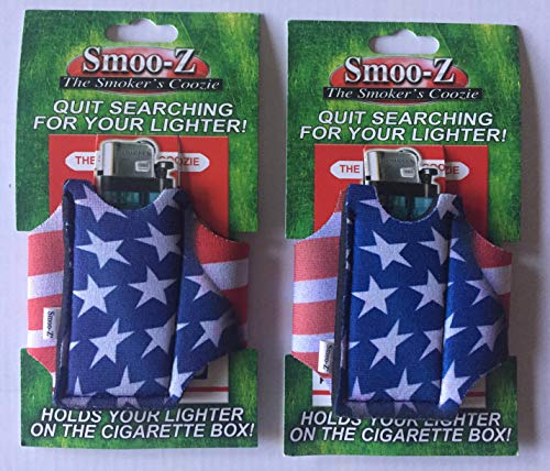 2 Smoo-Z Smoker's Coozie Cigarette Case & Lighter Holder American Flag(R. W. ()