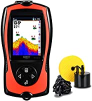LUCKY Portable Fish Finder Wired Sonar Sensor Transducer 328 Feet Water Depth Finder LCD Screen for Kayak Fish