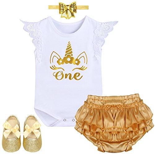 Baby Girl Unicorn Shiny Birthday Cake Smash Outfit Short Sleeve Romper Ruffle Pants Headband Shoes Halloween Costume White 12-18 Months]()