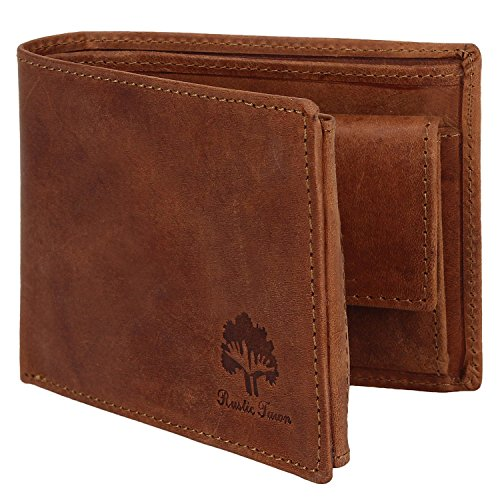 Handmade RFID Blocking Genuine Leather Bifold Wallets with Coin Pocket Designer Engraved Fashion with Card Pockets for Cash Bills By Rustic Town ~ Gif…