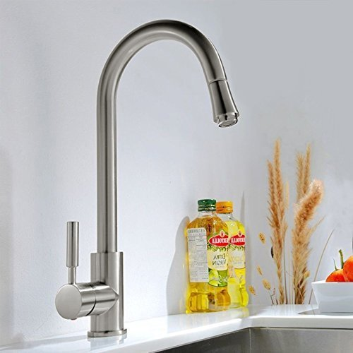 Brushed Steel Kitchen Sink Tap With Pull Out Spray Head: Amazon.co ...