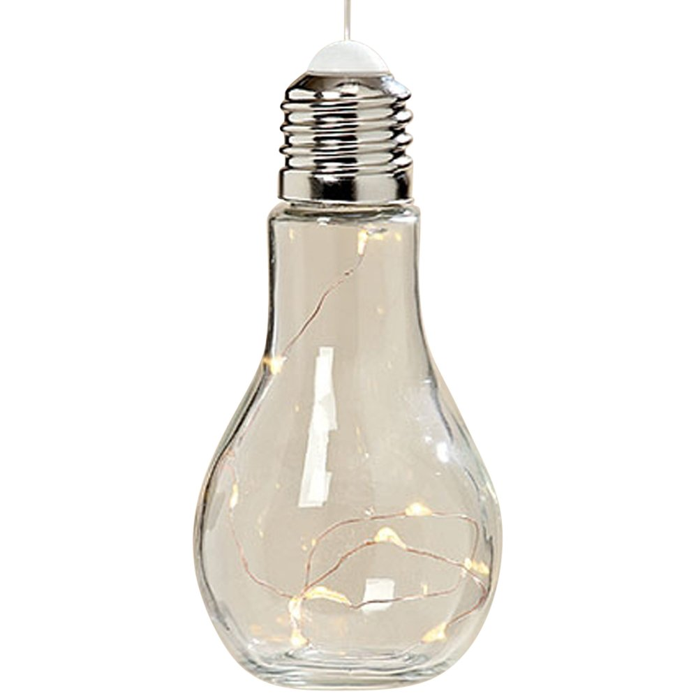 Whole House Worlds The Edison Style Light Bulb LED Lamp, 10 Fairy LEDs, Wire, Glass, Metal and Plastic, 7 ½H x 3 ½ D Inches, Battery Powered, (Included) Transparent Hanging Cord, By
