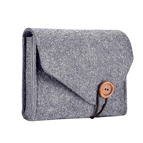 ProCase MacBook Power Adapter Case Storage Bag, Felt Portable Electronics Accessories Organizer Pouch for MacBook Pro Air Laptop Power Supply Magic Mouse Charger Cable –Gray