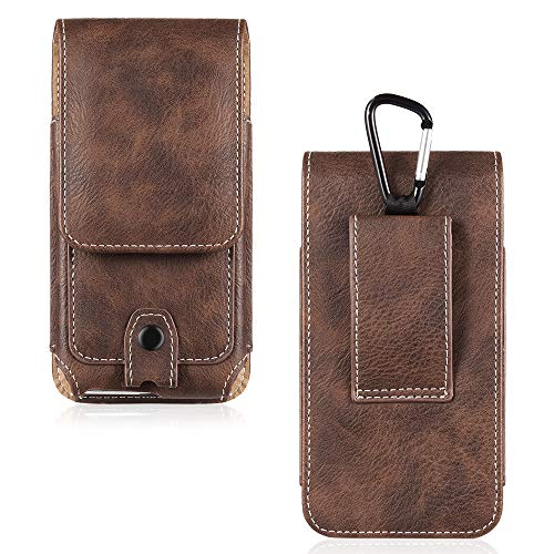 Clip Snap Belt (LUXMO Vertical Phone Holster Genuine Leather Case Belt Clip Pouch Carrying Cover [Key Holder Case] with Card Slots Hanging Ring Compatible with iPhone 6 Plus 6s Plus 7 Plus 8 Plus (Brown) - 5.5 Inch)