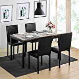 Cheap Harper & Bright Designs 5Pcs Dining Set Kitchen Table Set Dining Table and 4 Leather Chairs