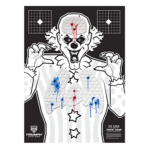 Triumph Systems Threat Down Evil Clown Silhouette | 6-Pack | Gun Targets for Shooting | 22 Rimfire Targets | Fun Shooting Target | 22 Target | Range Targets