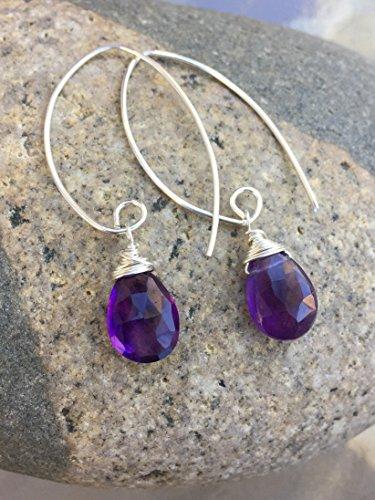 Amethyst Earrings, Royal Purple Amethyst Teardrops, February Birthstone, Amethyst Gemstone Earrings, Sterling Silver, 14K Gold Fill. - Royal Wrapped Amethyst Earrings