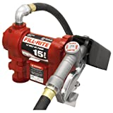 Fill-Rite FR1210G 12V 15 GPM Fuel Transfer Pump with Discharge Hose, Manual Nozzle, Suction Pipe