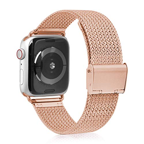 VATI Compatible with Apple Watch Band 38mm 40mm, Stainless Steel Mesh Loop Sport Wristband with Adjustable Magnetic Closure Replacement Band Compatible with iWatch Series 4/3/ 2/1, Rose Gold Design Stainless Steel Band