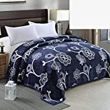 YAOHAOHAO Navy Blue White Flower Pattern Winter flannel bed linen invisible Invisible College Dorm Room office (pan size: 120200 cm)