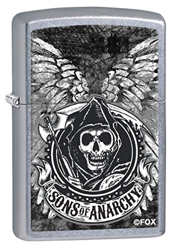 Anarchy Zippo Lighter - Zippo Lighter: Sons of Anarchy Wings - Street Chrome 79404