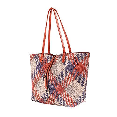 Mentor Tote Bag 9012-6 Soft Leather Large Tote Shoulder Bags for Women Waterproof Woven Handbag with Big Capacity 2PCS (Orange)