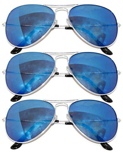 3 Pair Silver Metal (Aviator Full Mirror Lens Sunglasses Blue Color Lens Metal Silver Color Frame 3 Pairs Men Women)