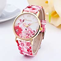 Hot Fashion Women Dress Watch Silicone Printed Flower Causal Quartz Wristwatches