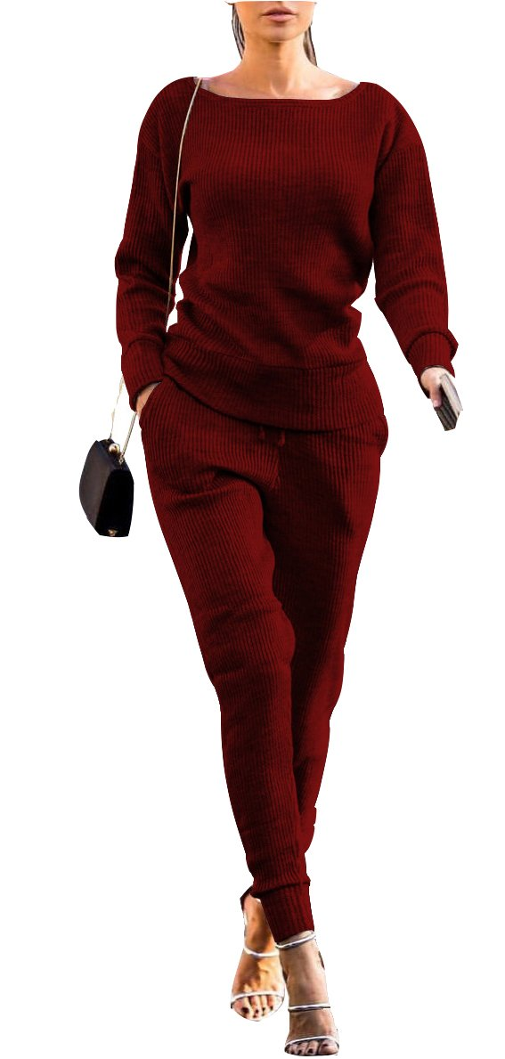 FOXRED Womens Casual Knitted Pullovers and Sweatpants 2 Pieces Basic Tracksuit Set by FOXRED