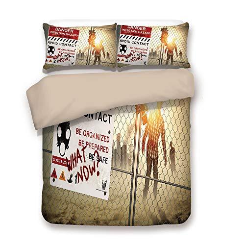 Duvet Cover Set,Back of Khaki,Zombie Decor,Dead Man Walking Dark Danger Scary Scene Fiction Halloween Infection Picture,Multicolor,Decorative 3 Pcs Bedding Set by 2 Pillow Shams,Twin for $<!--$98.89-->