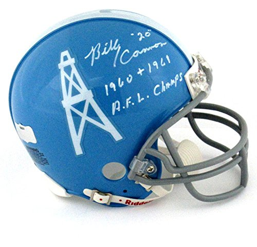 """Billy Cannon Signed Houston Oilers Throwback Riddell NFL Mini Helmet with """"1960 + 1961 AFL Champs"""" Inscription"""