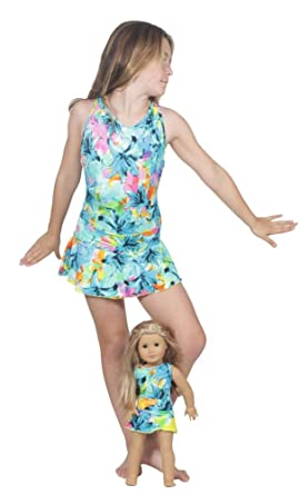 984993790c Amazon.com: Delicate Illusions Girls One Piece Bathing Suit With Matching  Swim Skirt and 18 Inch Doll Swimwear Outfit: Clothing