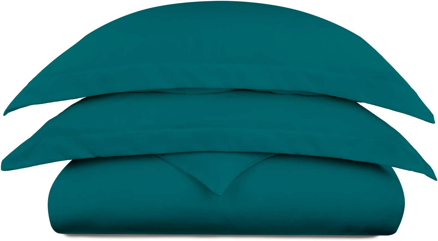 Cosy House Collection Luxury Bamboo Duvet Cover Set 3-Piece - Ultra Soft Hypoallergenic Bedding - Zippered Comforter Protector, Includes 2 Pillow Shams - King/Cal King - Dark Teal