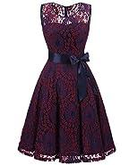 ALAGIRLS Women's Floral Lace Dress Short Bridesmaid Dresses Formal Midi Dress