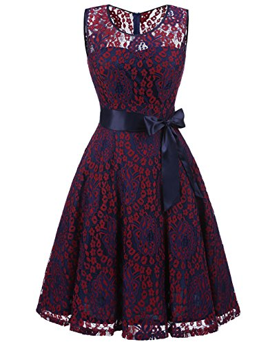 ALAGIRLS Women's Floral Lace Dress Short Bridesmaid Dresses Formal Midi Dress Red Navy L